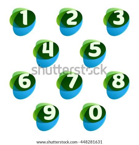 numbers set logos in green