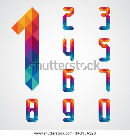 numbers set modern style