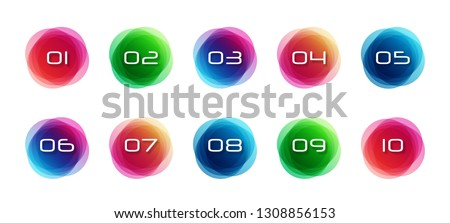 Numbers set. Numbers set logos at colorful watercolor splash background. Vector elements for posters, t-shirts and cards.