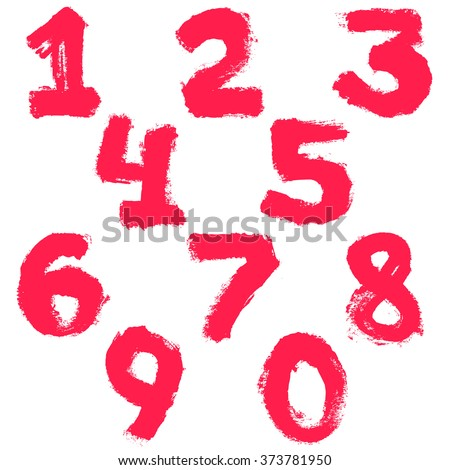 numbers set painted with a dry