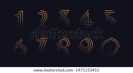 Numbers set vector font alphabet, modern dynamic luxury flat design for your unique elements design ; logo, corporate identity, application, creative poster & more