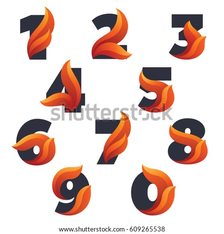numbers set with with fire
