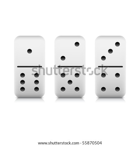 Numbers seven of domino web 2.0 button. White game block with shadow and reflection on white background