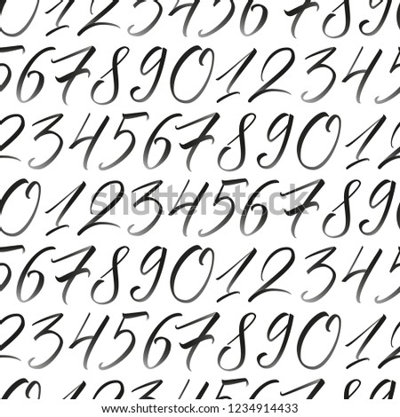 Numbers with gradient. Seamless repeating pattern with hand elegant calligraphy numerals  for your design on white background