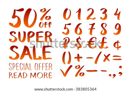 Numbers 0 9 Written With A Brush On White Background Lettering Super Sale