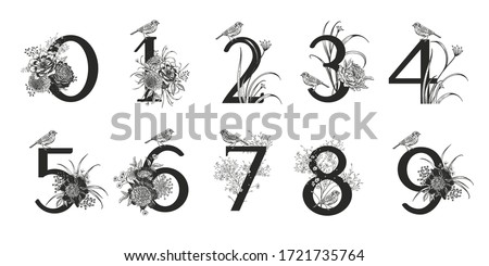 Numerals, flowers, peonies, decorative herbs and birds isolated set. Vector decoration. Black and white. Vintage illustration. Floral pattern for greetings, wedding invitations, anniversary card Stock photo ©