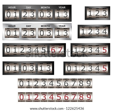 Numeric counter and timer vector with different bezel styles