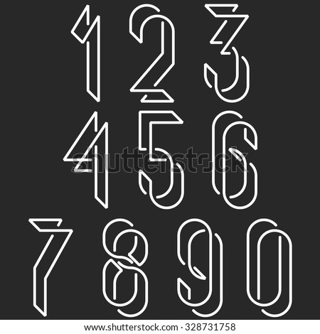 Numerical symbols line monogram numbers, mockup black and white line mathematics numerals for hipster poster