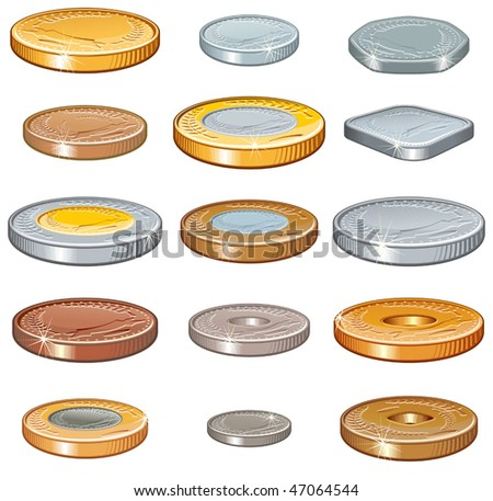 Numismatic money collection of various metal coins, Vector illustration without gradients