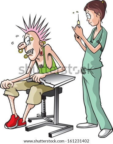 Nurse and Pierce. A cartoon of a nurse about to give a shot to a scared adult male. Layered vector file.