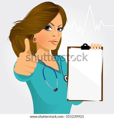 nurse  doctor holding a blank