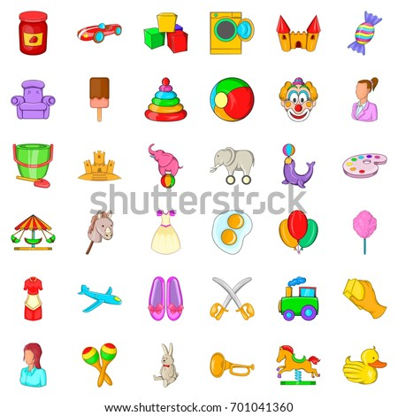 Nurse for child icons set. Cartoon style of 36 nurse for child vector icons for web isolated on white background