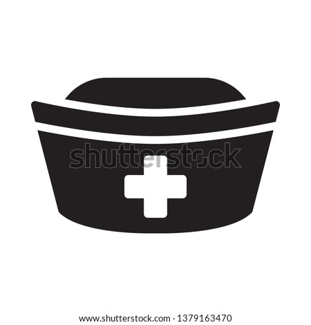 Nurse hat icon in trendy flat style design. Vector graphic illustration. Nurse hat icon for website design, logo, app, and ui. Vector file. EPS 10.