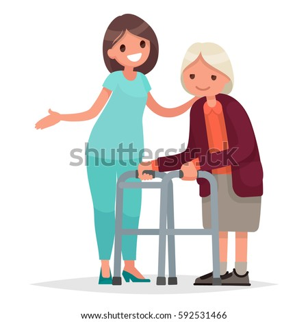 nurse helps her grandmother to