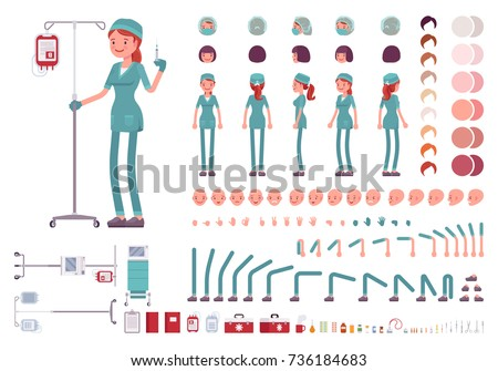 Nurse in hospital uniform character creation set. Full length, different views, emotions, gestures, medical equipment, nursing tools. Build your own design. Cartoon flat-style infographic illustration