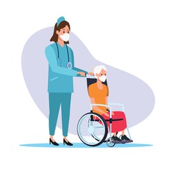 nurse protecting elderly person characters vector illustration design