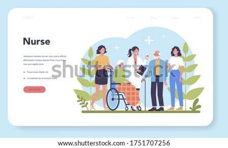 Nurse service web banner or landing page. Medical occupation, hospital and clinic staff. Professional assistance for senior patience. Isolated vector illustration