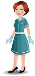 Nurse standing in uniform and hand gloves. EPS 10 vector with no transparency. Neatly named layers. Similar images in my portfolio