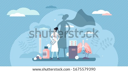 Nurse super hero concept, flat tiny person vector illustration. Health care medical crisis volunteer and COVID-19 Corona virus global pandemic emergency worker. Clinical help and support assistance.
