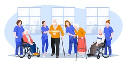 Nurse taking care about seniors people in hospital. Vector flat cartoon illustration. Doctors help elderly people walk and ride wheelchair.