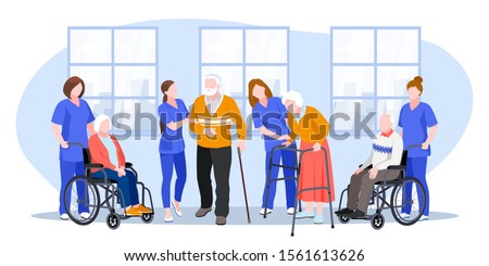 Nurse taking care about seniors people in hospital. Vector flat cartoon illustration. Doctors help elderly people walk and ride wheelchair.