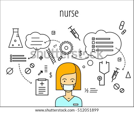 nurse vector character. Board of thoughts. Instruments. Plans. Strategy background