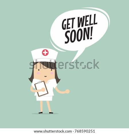Nurse with Get Well Soon Speech Bubble. vector
