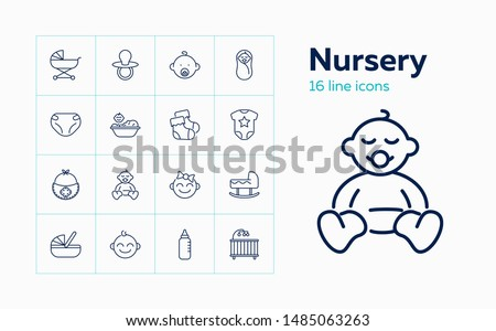 Nursery icons. Set of line icons on white background. Baby bed, pacifier, baby pram. Childcare concept. Vector can be used for topics like childhood, parenthood, care