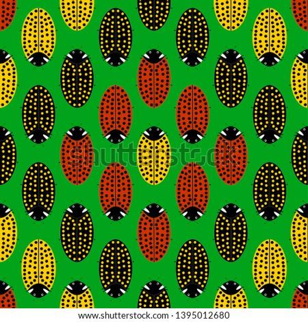 Nursery pattern fabric. Flat illustrations. Flat vector illustration. Vector flat. Illustration flat. Illustration. Vector illustration. Background from three ladybugs. Pattern with colorful ladybugs.