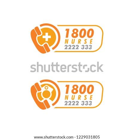 Nurses / doctors call logo design template. - vector illustrator