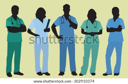 Nurses or Surgeons Wearing Scrubs in Colored Silhouette
