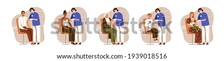 Nurses vaccinating people with vaccine injection for diseases and viruses prevention. Vaccination of adults, children and aged patients. Colored flat vector illustration isolated on white background