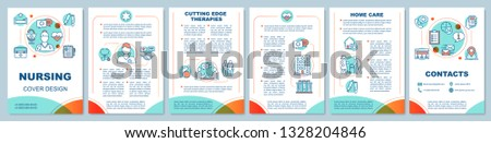 Nursing brochure template layout. Cutting edge therapies. Medical home care. Flyer, leaflet print design, linear illustrations. Hospice care. Vector page layouts for magazines, advertising posters