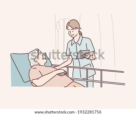Nursing carer cares for a senior patient in nursing care. Hand drawn style vector design illustrations.