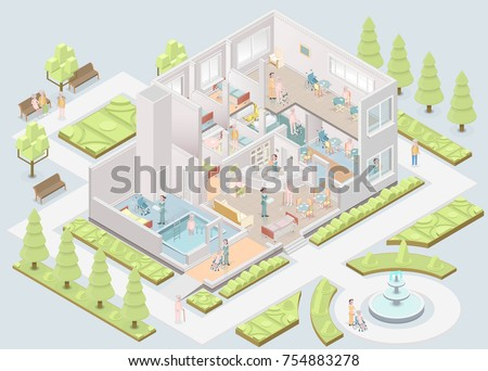 Nursing home. Assisted-living facility. Isometric. Vector illustration