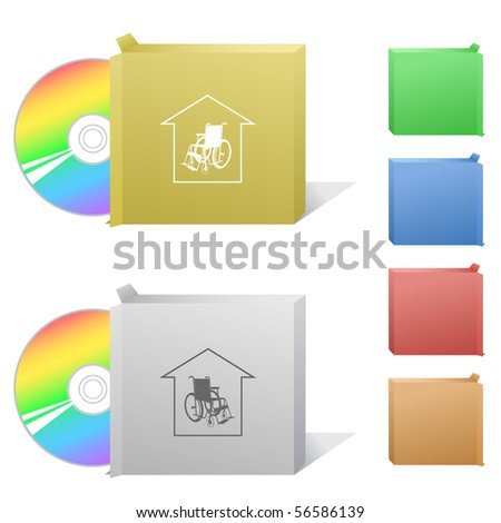 Nursing home. Box with compact disc. - stock vector