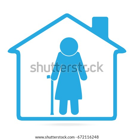 Nursing home for elderly woman blue icon