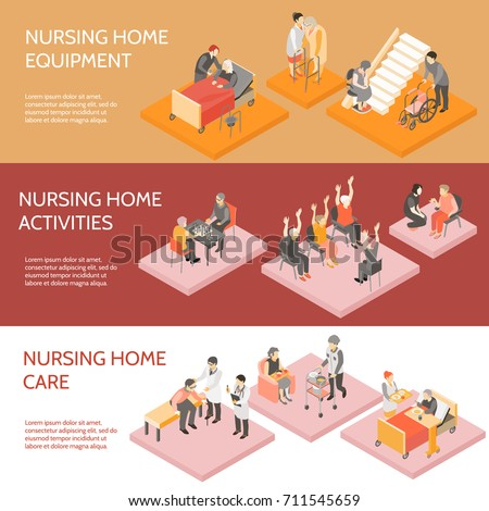 Nursing home 3 horizontal infographic elements isometric banners set with equipment and daily activities isolated vector illustration