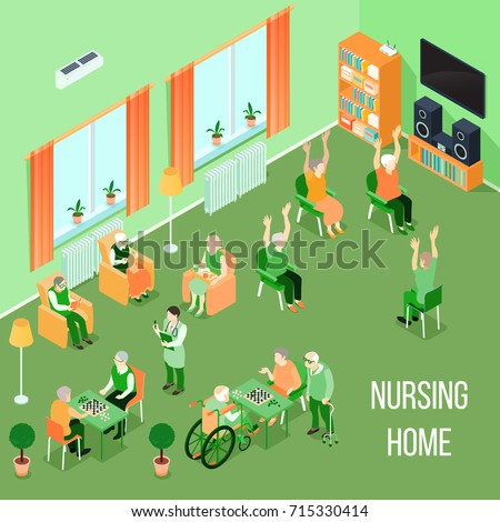 Nursing home residents room interior isometric view with residents playing chess reading and physical activities vector illustration