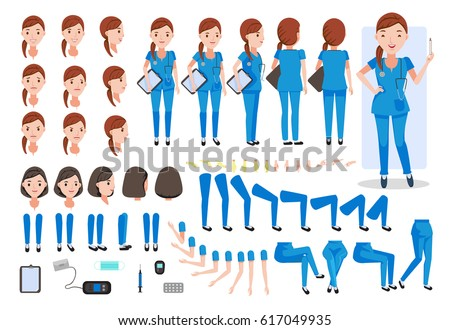 Nursing women  character creation set. Icons with different types of faces and hair style, emotions,  front, rear, side view of female person. Moving arms, legs.Sit, stand, walk  Vector illustration