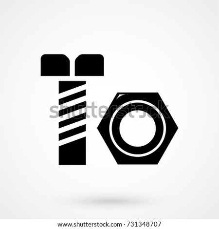 Nut and bolt icon isolated on background. Modern flat pictogram, business, marketing, internet concept. Trendy Simple vector symbol for web site design or button to mobile app. Logo illustration