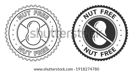 Nut free icons, stamps set. Vector illustration isolated on white background. Badge or sticker flat design. Healthy food concept. No peanut symbol for food packaging or dietetic product nutrition sign Foto stock ©