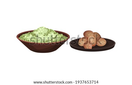 Nut Meg and Heap of Peppercorns in Bowl as Spice and Condiment Vector Set Stock fotó ©