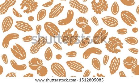 Nut seamless pattern with flat silhouette icons. Vector background of dry nuts and seeds - almond, cashew, peanut, walnut, pistachio. Food texture for grocery shop, brown white color.