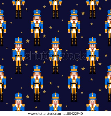 Stock Photo Nutcracker toy red xmas seamless vector pattern. Gift wrap paper design. Christmas ballet toy soldier.