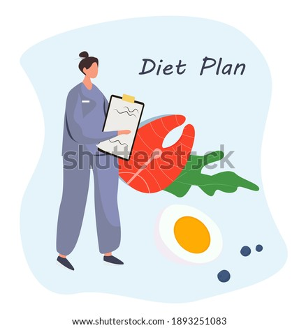 Nutrition Diet Plan. Nutritionist Doctor or Dietitian Holding Clipboard with Diet Plan.Healthy Food and Diet Planning.Healthy Nutrition.Vegan Eating.Protein Products for Keto Diet.Vector Illustration