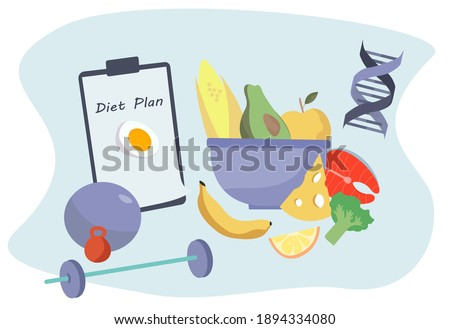 Nutrition Diet Plan. Nutritionist Doctor or Dietitian Holding Clipboard with Diet Plan.Healthy Food and Diet Planning.Healthy Nutrition.Vegan Eating.Protein Products for Keto Diet.Vector Illustration Photo stock ©