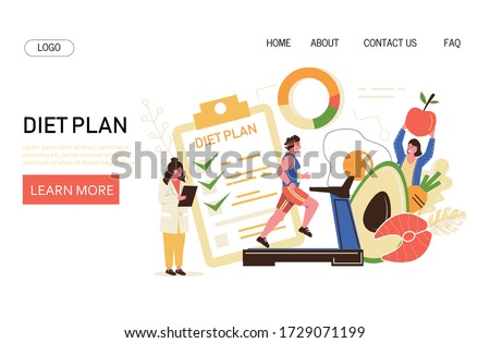 Nutrition diet, weight-loss diet vector concet. The nutritionist controls the diet plan and the athlete runs on a treadmill.