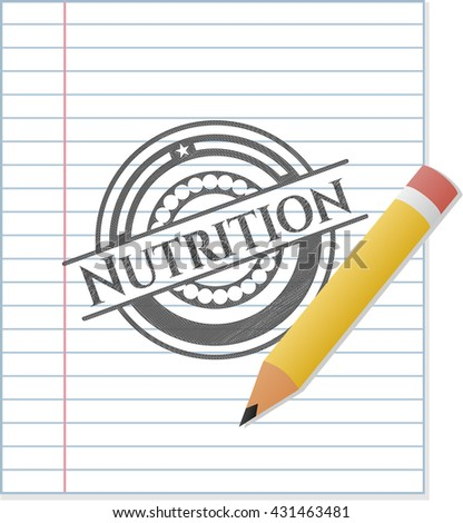 Nutrition emblem drawn in pencil