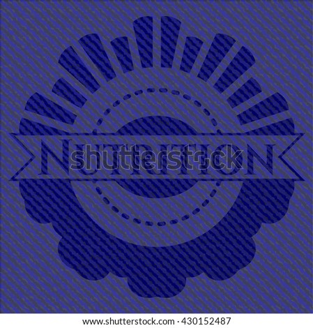 Nutrition emblem with denim high quality background